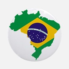 Brasil Flag Map Round Ornament