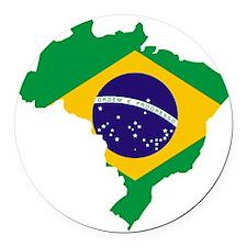 Brasil Flag Map Round Car Magnet