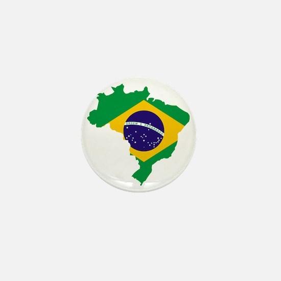 Brasil Flag Map Mini Button