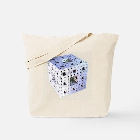 Silver Menger sponge fractal Tote Bag