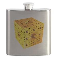 Yellow Menger sponge fractal Flask