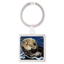 Sea Otter Square Keychain