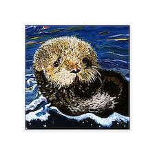 """Sea Otter Square Sticker 3"""" x 3"""""""