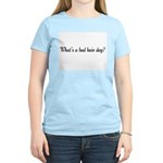 Women's Pink T-Shirt-What's a bad hair day