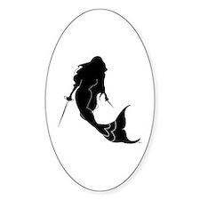 Fencing Mermaid Oval Decal