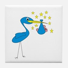 Blue Stork & Baby Tile Coaster