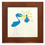 Blue Stork & Baby Framed Tile