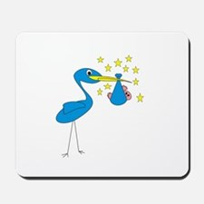 Blue Stork & Baby Mousepad