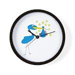 Blue Stork & Baby Wall Clock
