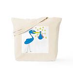 Blue Stork & Baby Tote Bag