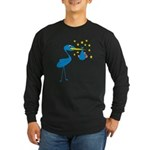 Blue Stork & Baby Long Sleeve Dark T-Shirt