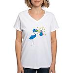 Blue Stork & Baby Women's V-Neck T-Shirt