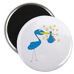 Blue Stork & Baby Magnet