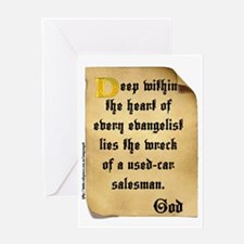 God and Used Car Salesmen Greeting Card