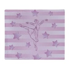 Cute pink lilac ballerina and stars Throw Blanket
