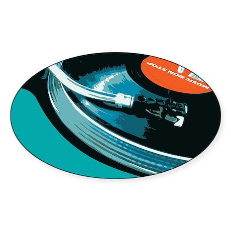 Turntable Vinyl DJ Sticker (Oval)