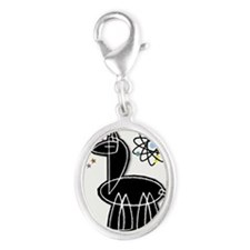 Llama Large Silver Oval Charm