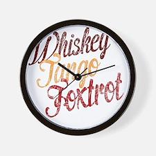 Whiskey Tango Foxtrot Vintage Dark Desi Wall Clock