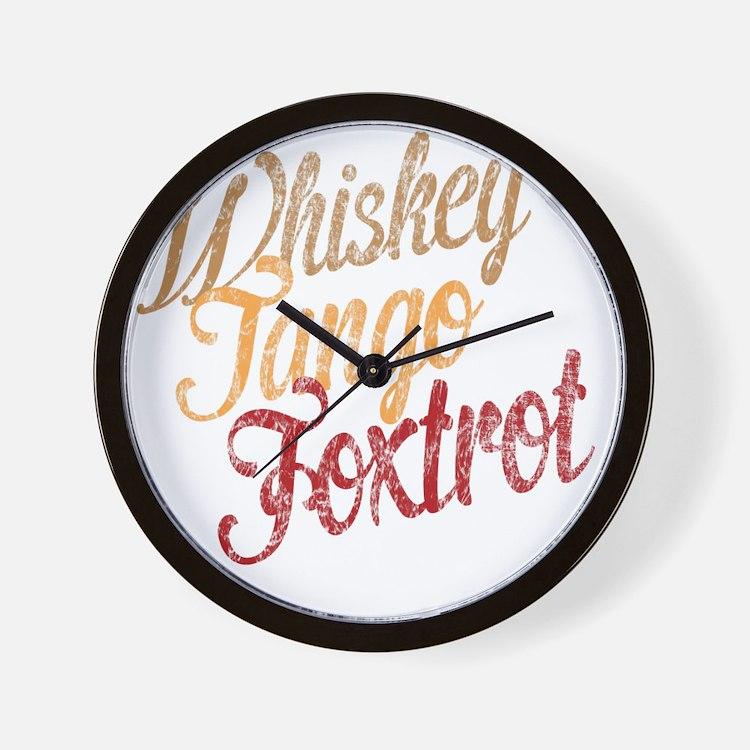 Whiskey Tango Foxtrot Vintage Dark Wall Clock