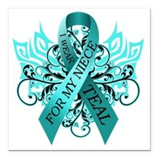 """I Wear Teal for my Niece Square Car Magnet 3"""" x 3"""""""