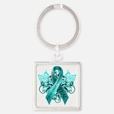 I Wear Teal for my Great Grandma Square Keychain