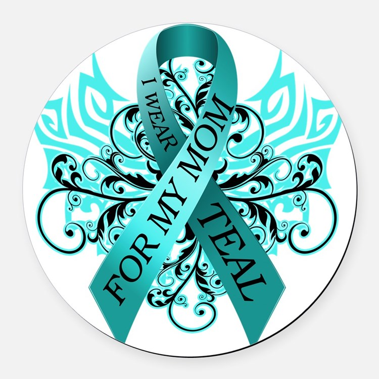 I Wear Teal for my Mom Round Car Magnet