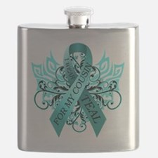 I Wear Teal for my Cousin Flask