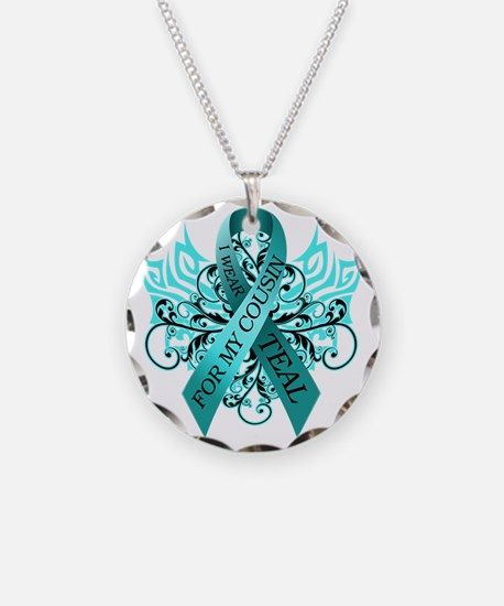 I Wear Teal for my Cousin Necklace Circle Charm
