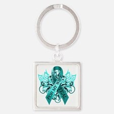I Wear Teal for my Wife Square Keychain