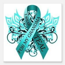 "I Wear Teal for my Grand Square Car Magnet 3"" x 3"""