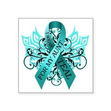 "I Wear Teal for my Aunt Square Sticker 3"" x 3"""