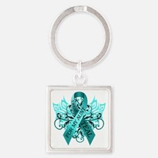 I Wear Teal for my Aunt Square Keychain
