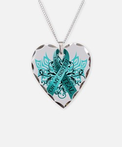 I Wear Teal for my Sister Necklace Heart Charm