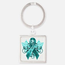 I Wear Teal for my Sister Square Keychain