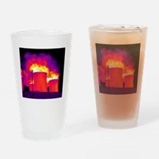Cooling towers, thermogram Drinking Glass