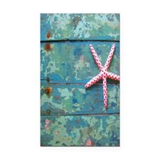 Starfish and Turquoise Rectangle Car Magnet