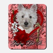 Valentines - Key to My Heart - Westie Mousepad
