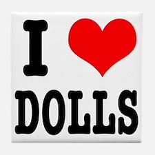 I Heart (Love) Dolls Tile Coaster