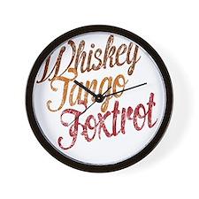 Whiskey Tango Foxtrot Vintage Aqua Wall Clock