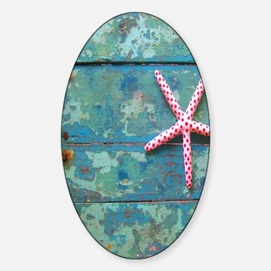 Starfish and Turquoise Sticker (Oval)