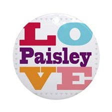 I Love Paisley Round Ornament