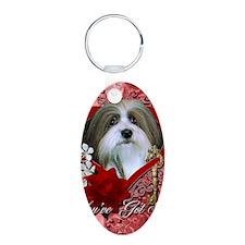 Valentine_Red_Rose_Havanese Aluminum Oval Keychain