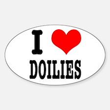 I Heart (Love) Doilies Oval Decal