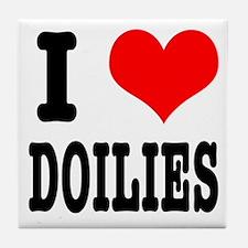 I Heart (Love) Doilies Tile Coaster