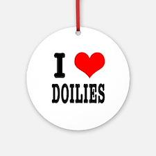 I Heart (Love) Doilies Ornament (Round)