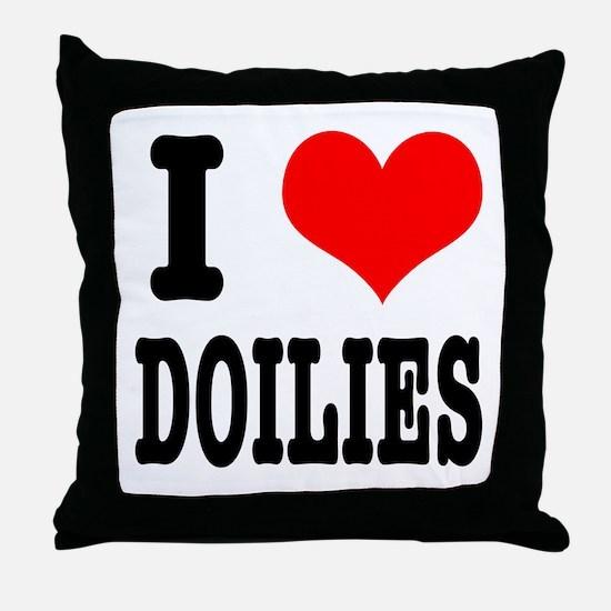 I Heart (Love) Doilies Throw Pillow