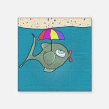 "Funny Fishing Square Sticker 3"" x 3"""