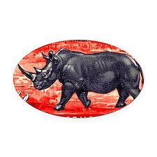 Vintage 1959 Belgian Congo Rhinoce Oval Car Magnet