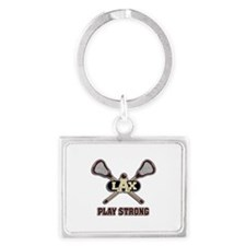 Lacrosse Play Strong Landscape Keychain