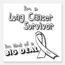 "Lung Cancer Survivors AR Square Car Magnet 3"" x 3"""